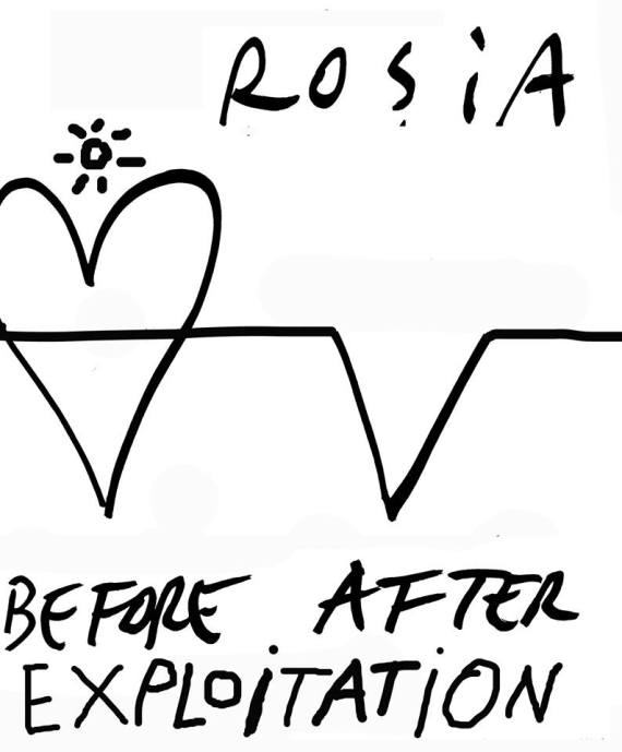Before and After Rosia Montana - ilustratie de Dan Perjovschi